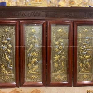 Tranh tứ quý giả cổ họa tiết dát vàng kích thước 1m x 40cm