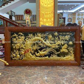Tranh Vinh Hoa Phú Quý 2m3 dát vàng khung gỗ hoa văn tứ quý