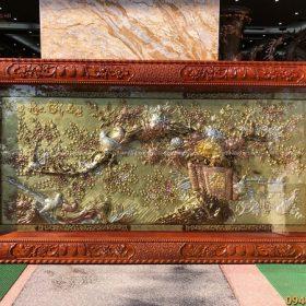 Tranh Vinh Hoa Phú Quý mạ tam khí khung đục gỗ gụ 2m3 x 1m2