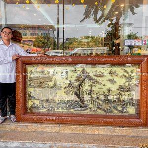 Tranh Vinh Quy Bái Tổ hàng đặt khung gỗ gụ 2m3 x 1m2