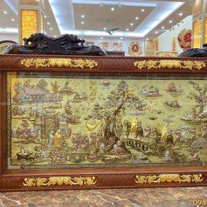 Tranh Vinh Quy Bái Tổ khảm tam khí thếp vàng khung gỗ gụ