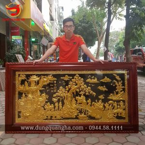 Tranh Vinh Quy Bái Tổ mạ vàng kích thước 1m7x90