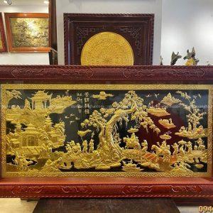 Tranh Vinh Quy Bái Tổ thếp vàng 2m3 x 1m2 khung gỗ hương đỏ