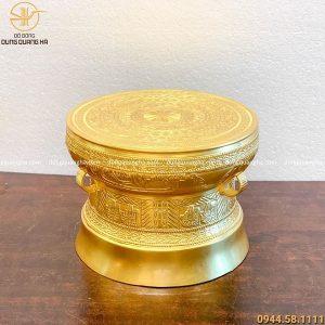 Trống đồng quà tặng bằng đồng đỏ dát vàng cao 30cm mẫu 2