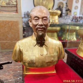 Tượng Bác Hồ bán thân bằng đồng cao 70cm thếp vàng 9999