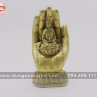 Tượng bàn tay Phật Quan Âm bằng đồng vàng mộc