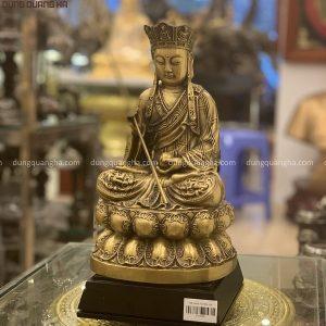 Tượng Bồ Tát Địa Tạng tôn nghiêm bằng đồng vàng cao 30cm
