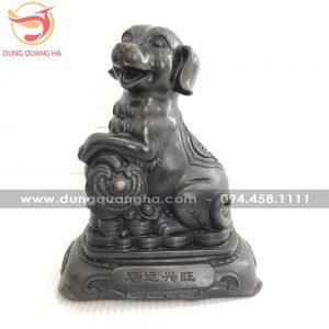 Tượng chó phong thủy bằng đồng hun giả cổ tinh xảo