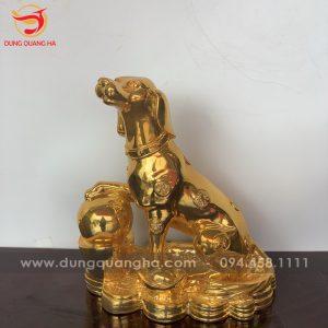 Tượng chó phong thủy bằng đồng mạ vàng đẹp tinh xảo