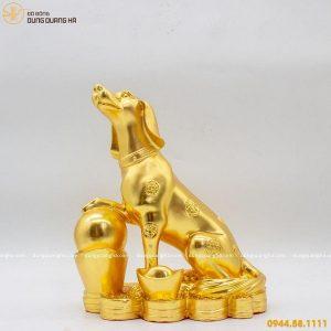 Tượng chó phong thủy bằng đồng thếp vàng 9999 mẫu 1