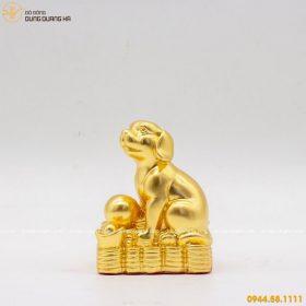 Tượng chó phong thủy tài lộc dát vàng 9999 mẫu 2