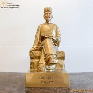 Tượng Chu Văn An bằng đồng đỏ thiết kế ngồi tinh xảo cao 60cm