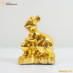 Tượng chuột phong thủy bằng đồng mạ vàng mẫu 1