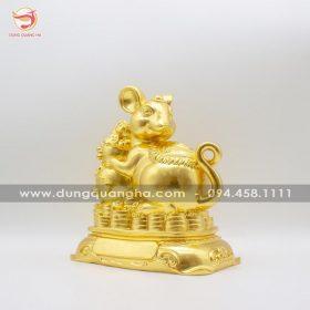 Tượng chuột phong thủy bằng đồng ôm hồ lô dát vàng 9999