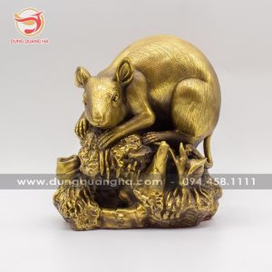 Tượng chuột phong thủy bằng đồng sắc màu cổ kính tinh xảo