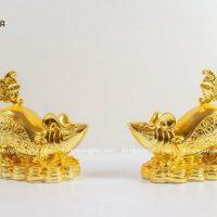 Tượng chuột phong thủy bằng đồng thếp vàng 9999