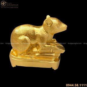 Tượng Chuột phong thủy phúc lộc đồng đỏ thếp vàng dài 21 cm