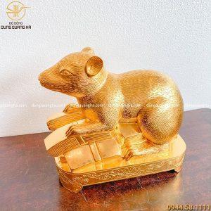 Tượng chuột phong thủy tài lộc bằng đồng dát vàng 9999