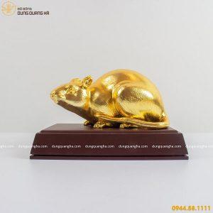 Tượng con chuột bằng đồng thếp vàng 9999