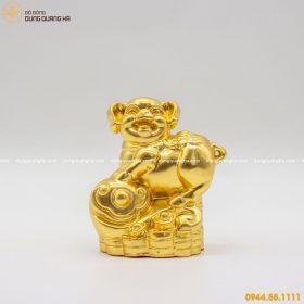 Tượng con heo phong thủy bằng đồng thếp vàng 9999