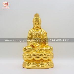 Tượng Đại Thế Chí Bồ Tát bằng đồng thếp vàng đẹp tôn nghiêm