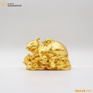 Tượng đàn chuột phú quý bằng đồng thếp vàng 9999