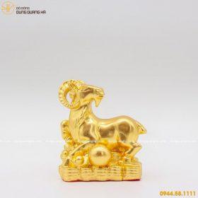 Tượng dê đồng phong thủy thếp vàng 9999