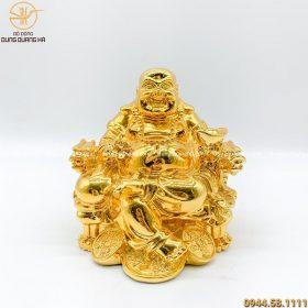 Tượng Di Lặc bằng đồng cao 9cm mạ vàng 24k đẹp tinh xảo