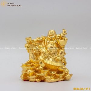 Tượng Di Lặc bằng đồng cưỡi long quy thếp vàng