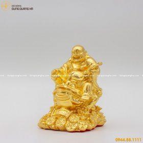 Tượng Di Lặc đẹp cưỡi Thiềm Thừ bằng đồng thếp vàng