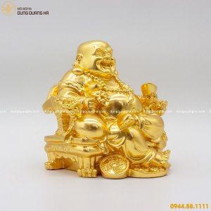 Tượng Di Lặc ngồi ghế rồng bằng đồng thếp vàng 9999