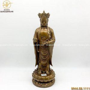 Tượng Địa Tạng Vương Bồ Tát đứng bằng đồng giả cổ 47cm