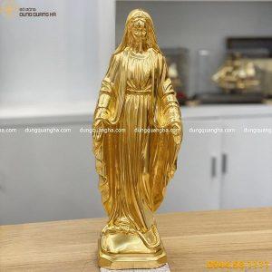Tượng Đức Mẹ ban ơn bằng đồng dát vàng 9999