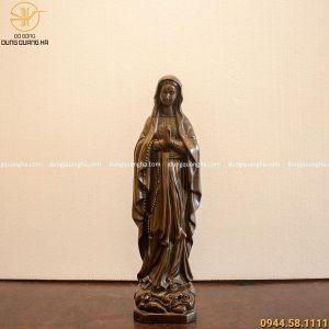 Tượng Đức Mẹ Maria chắp tay bằng đồng hun đen cao 40cm