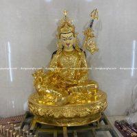 Tượng Đức Phật liên hoa sinh cao 1m5 đồng đỏ thếp vàng