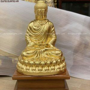 Tượng Đức Phật Thích Ca Mâu Ni cao 40cm thếp vàng 9999