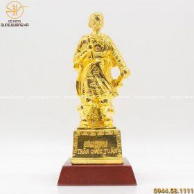 Tượng Đức Thánh Trần Hưng Đạo bằng đồng mạ vàng 24k (có đế)