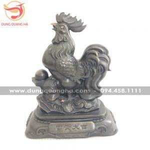 Tượng gà trống bằng đồng hun giả cổ đẹp sắc sảo