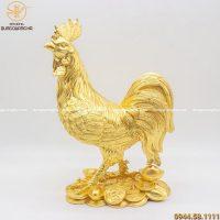 Tượng gà trống phong thủy bằng đồng dát vàng cao 40cm