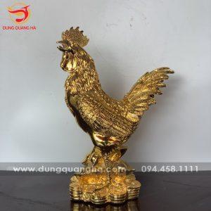 Tượng gà trống phong thủy mạ vàng
