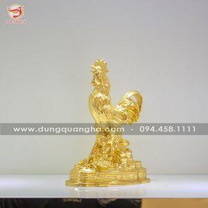 Tượng gà trống phong thủy tài lộc dát vàng 9999