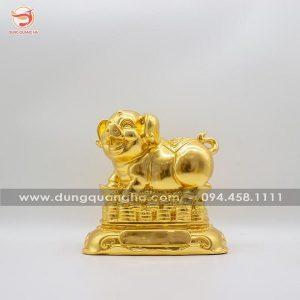 Tượng heo phong thủy bằng đồng thếp vàng mẫu 2 tinh xảo
