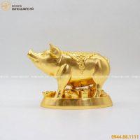 Tượng heo phú quý bằng đồng thếp vàng hoa văn tinh xảo