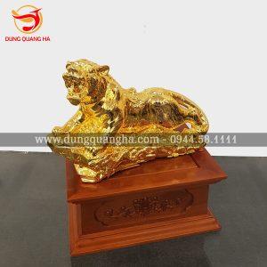 Tượng hổ mạ vàng 24k tinh xảo – linh vật phong thủy cao cấp