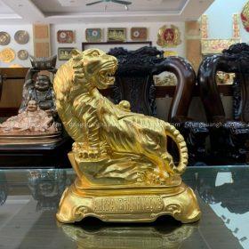 Tượng Hổ ngồi bệ đá bằng đồng đỏ cao 40cm dát vàng tinh xảo