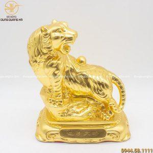 Tượng hổ phong thủy cõng ngọc bằng đồng dát vàng cao 27cm