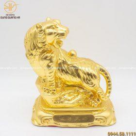 Tượng hổ bằng đồng phong thủy cõng ngọc bằng đồng dát vàng cao 27cm