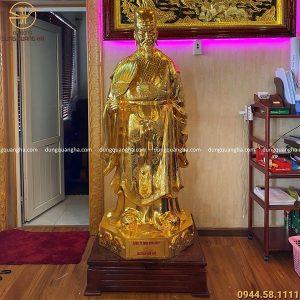 Tượng Khổng Minh bằng đồng thếp vàng 9999 cao 1m7 nặng 4 tạ