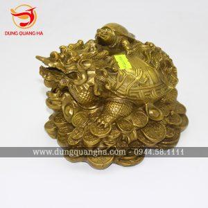 Tượng Long Quy bằng đồng vàng cỡ nhỏ