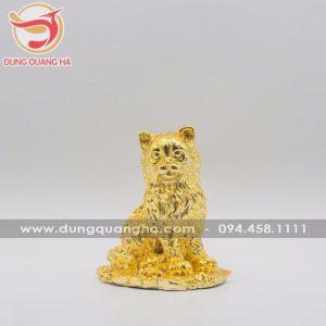 Tượng mèo phong thủy bằng đồng mạ vàng
